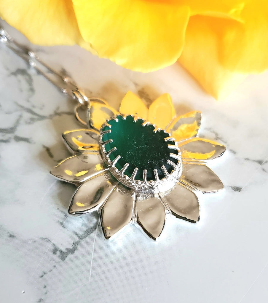 Teal Green Sea Glass Statement Flower Necklace