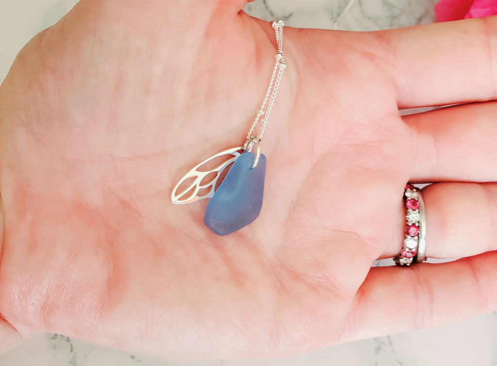 Butterfly and Cornflower Blue Sea Glass Necklace Garden Collection