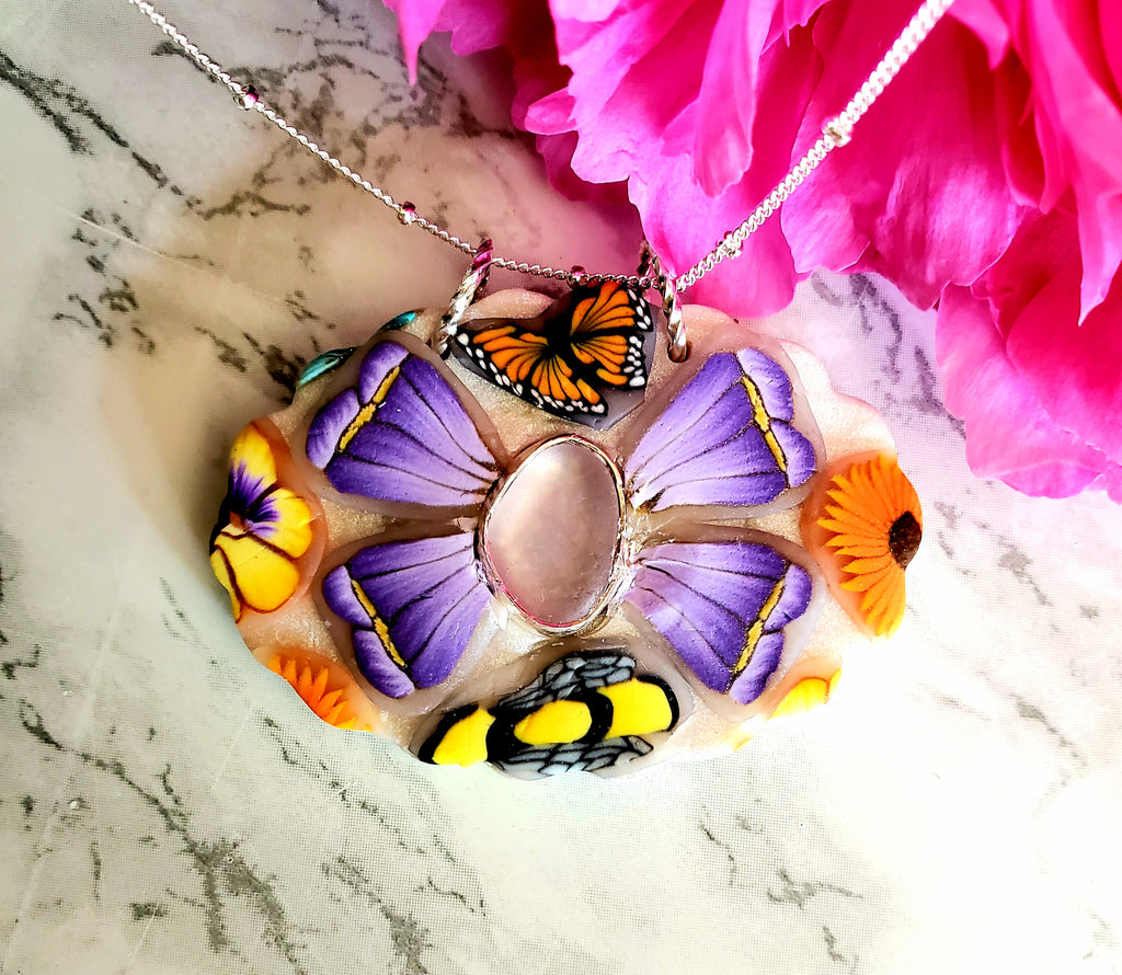Statement Flower Necklace with Amethyst Sea Glass
