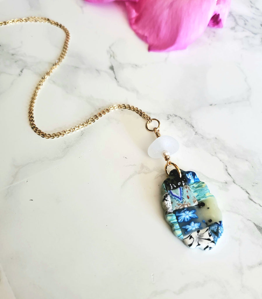 Gold Sea Glass Necklace With Handmade Quilt Pendant