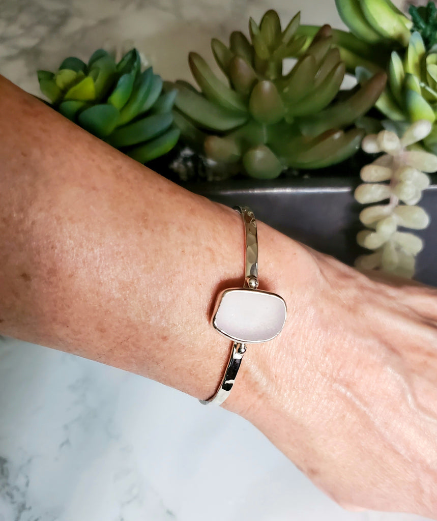 Real Lavender Sea Glass Cuff Bracelet In Sterling Silver