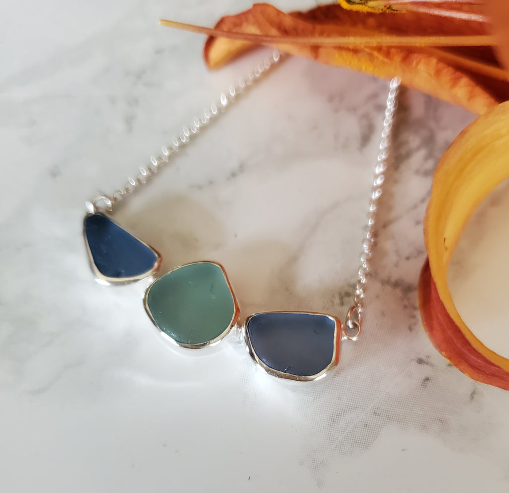 Beach Glass Trio Necklace in Shades of Blue Statement