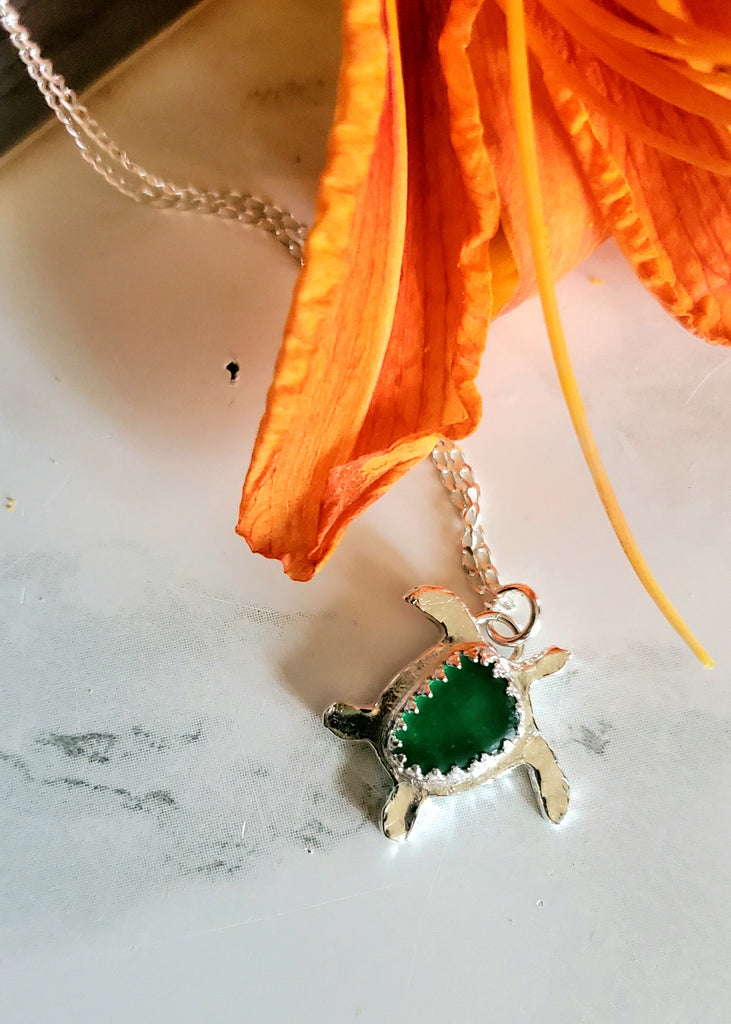 Turtle Necklace with Real Green Sea Glass