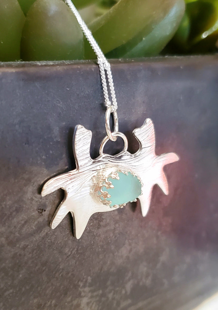 Crab Necklace With Genuine Aqua Blue Sea Glass