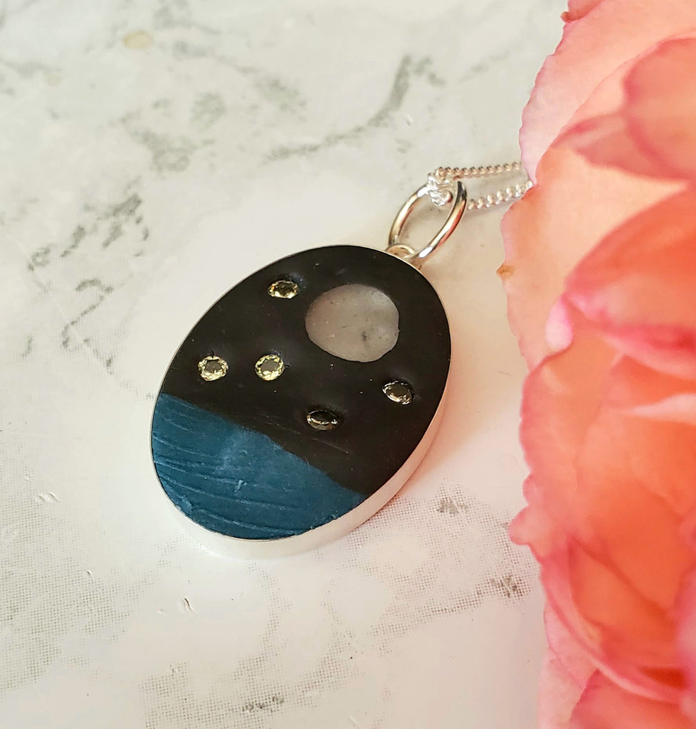 Artisan-made Sea Glass Moon Over Ocean Pendant Necklace