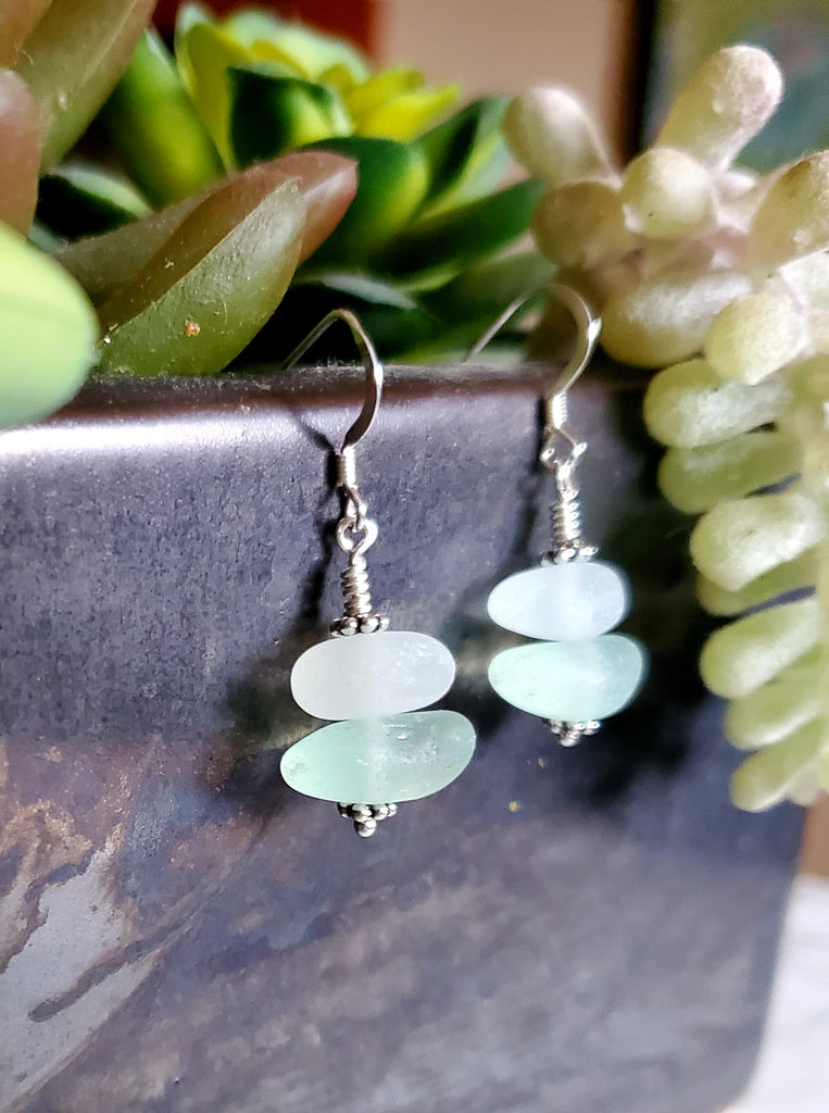 Aqua and White Sterling Silver GENUINE Sea Glass Earrings