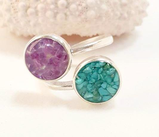 Amethyst  and Turquoise Ring Handmade in Sterling Silver