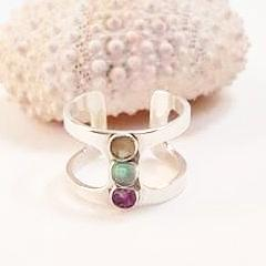 Sea glass, sand and amethyst ring