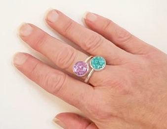 Handmade Turquoise and Amethyst Ring In Sterling Silver Beachy Boho
