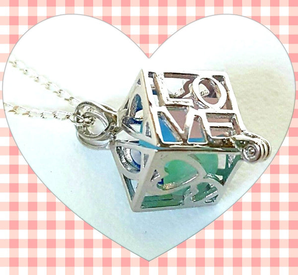 Love Locket Necklace Genuine Sea Glass Jewelry In Sterling Silver