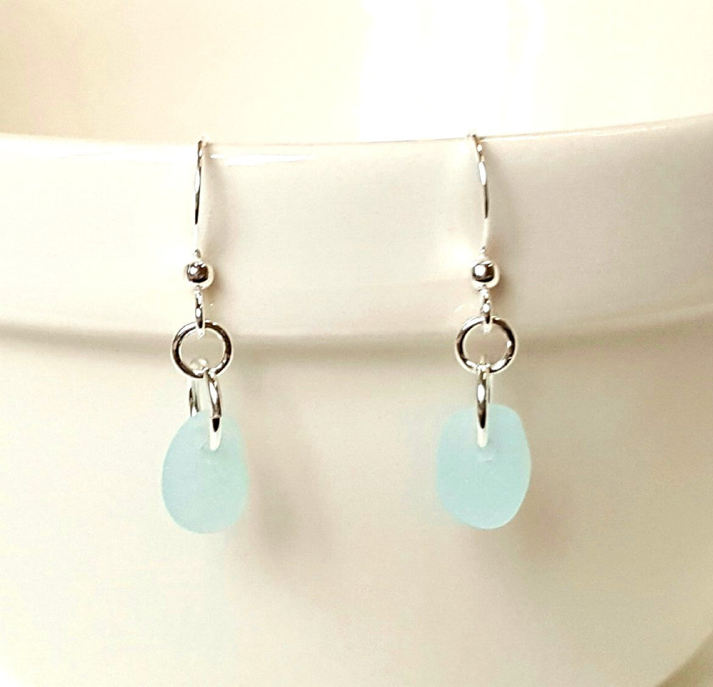 Aqua v=blue beach glass earrings sterling silver