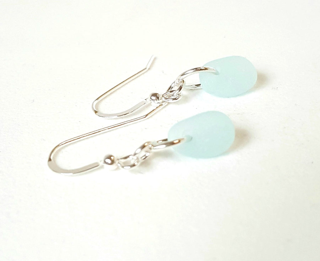 GENUINE Aqua Sea Glass Earrings Sterling Silver Choice Of Color