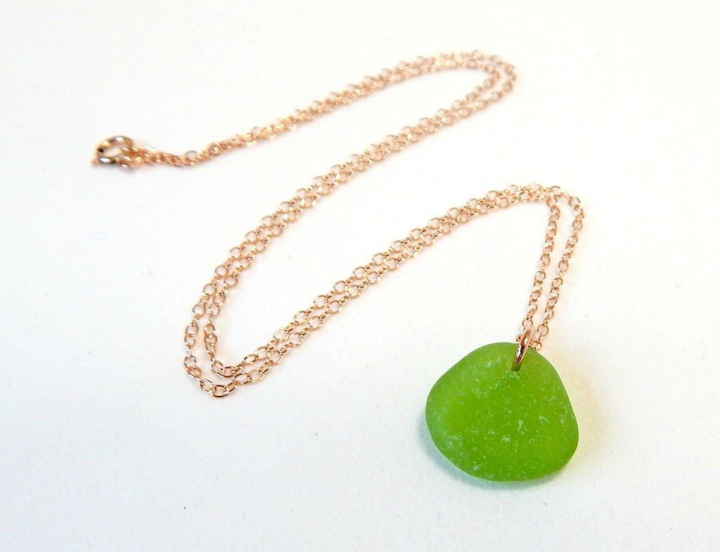 Rose Gold Sea Glass Necklace In Lime Green REAL Sea Glass