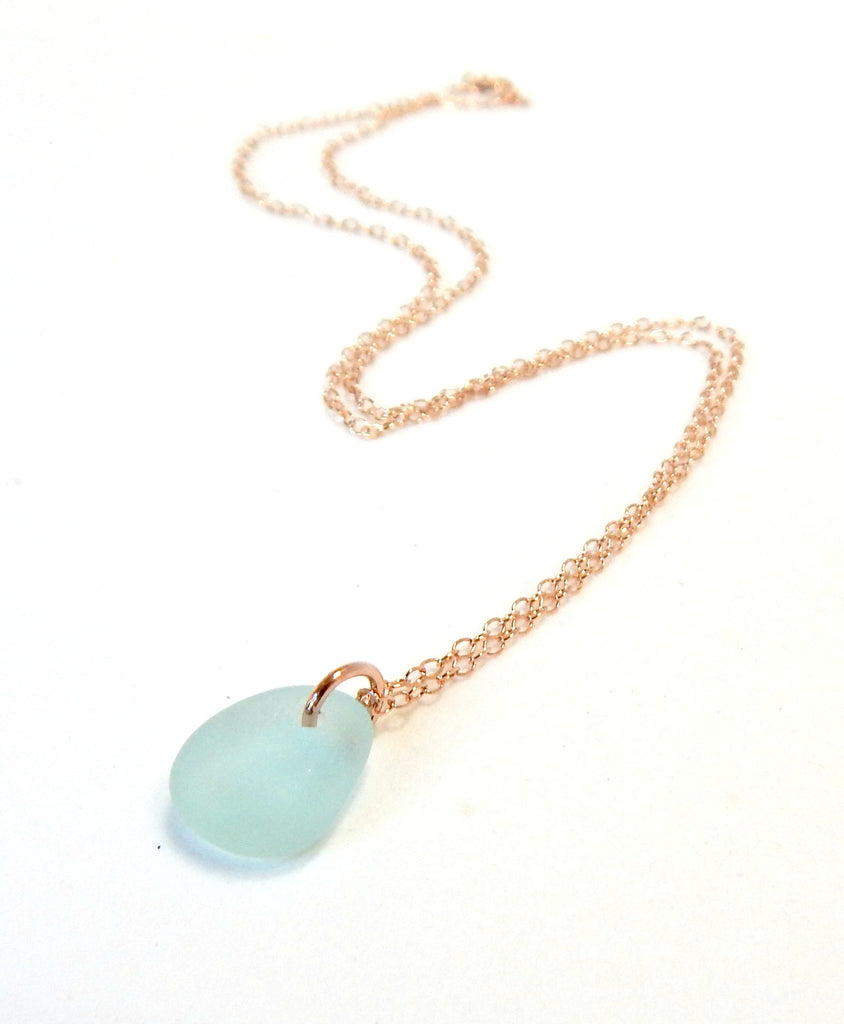 Rose Gold Sea Glass Necklace In Aqua Blue REAL Sea Glass