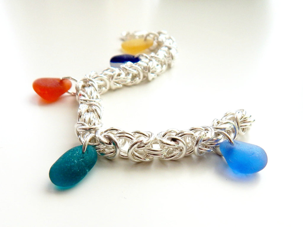 Genuine sea glass bracelet in Chainmaille design
