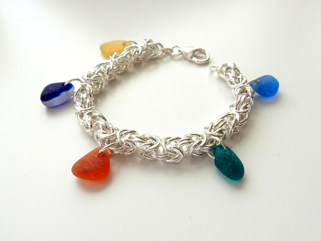 Genuine Sea Glass Bracelet In Sterling Silver Chainmaille