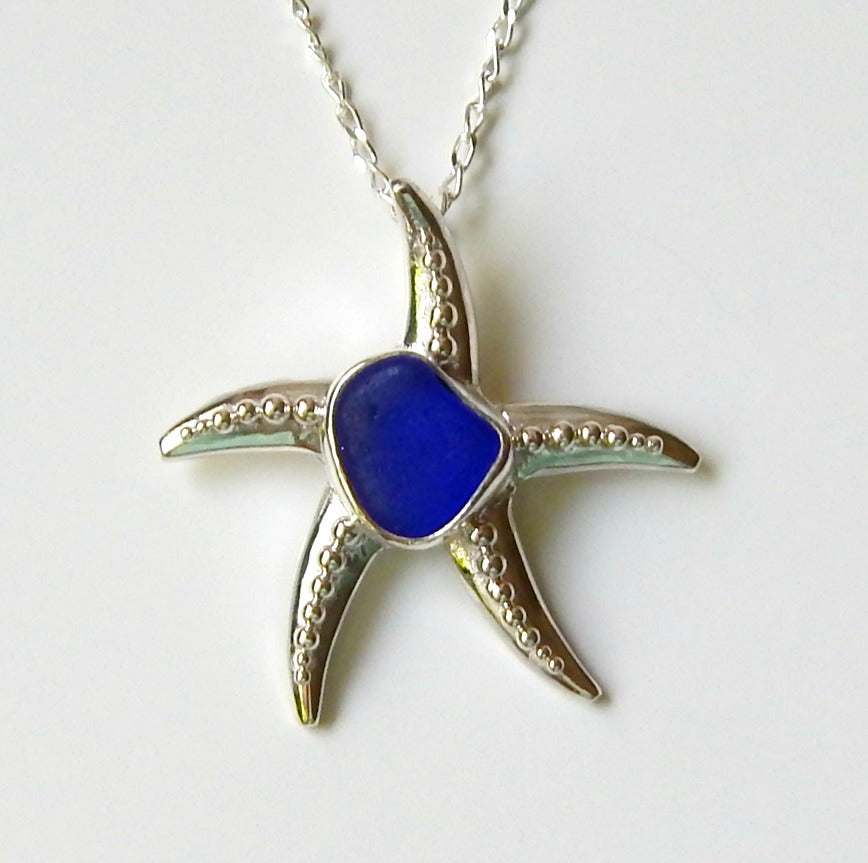 Starfish Necklace with Genuine Beach Glass Necklace Blue
