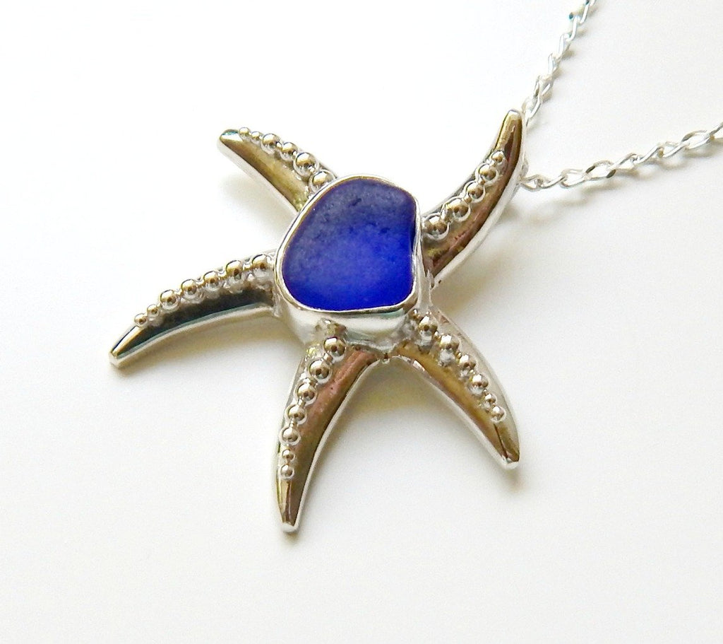 Starfish necklace with blue sea glass