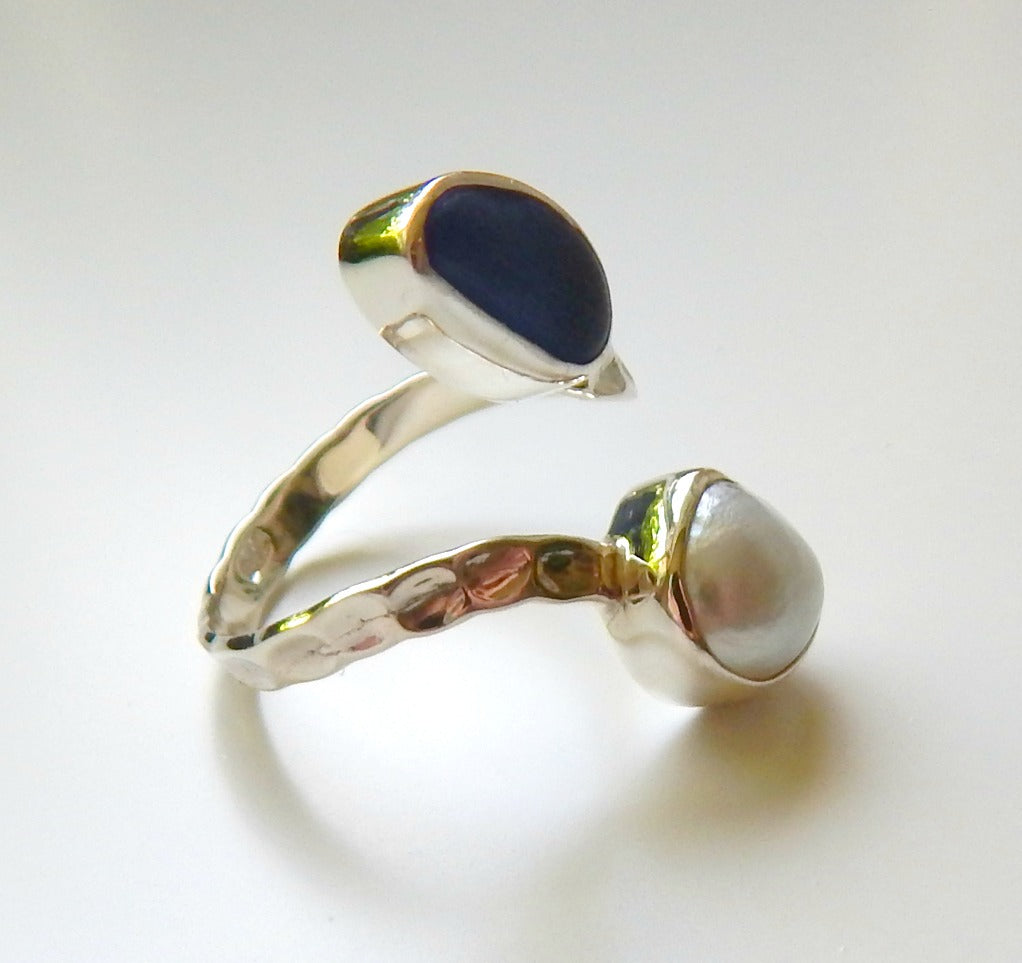 Pearl And Blue Sea Glass Ring In Sterling Silver
