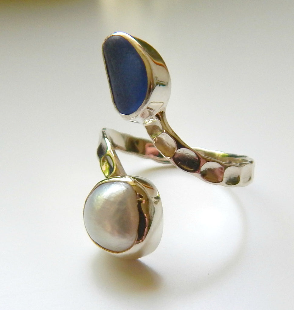 Pearl and blue sea glass ring