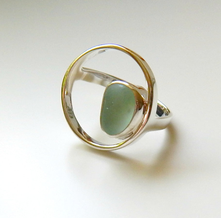 Aqua Blue Sea Glass Ring