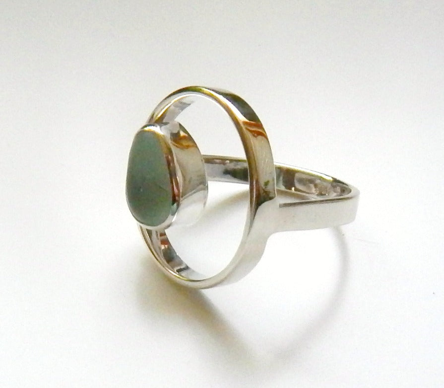 Aqua Blue Sea Glass Ring In Sterling Silver Circle Design