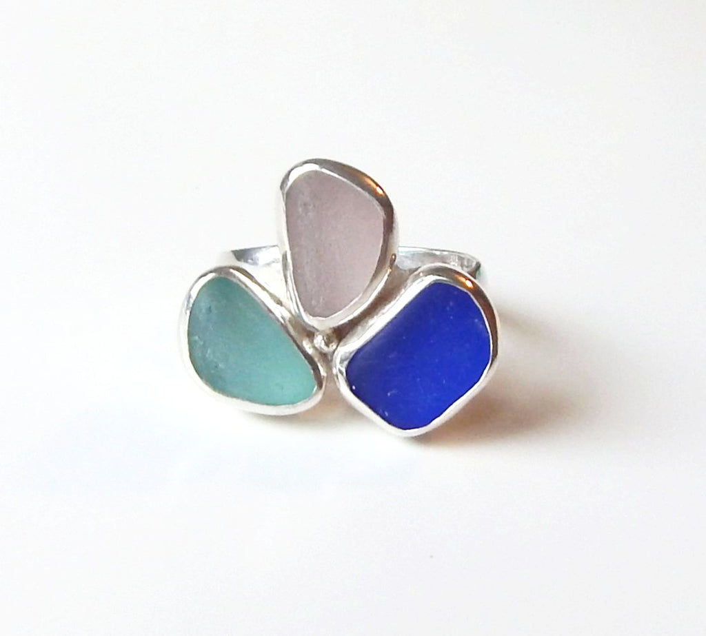 Genuine Sea Glass Ring Multi Color Silver Silver