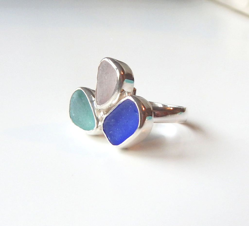 Real Sea Glass ring In Sterling