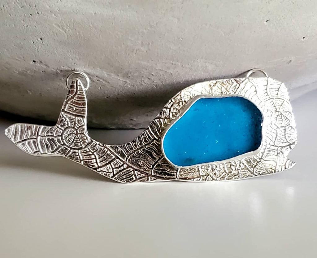 Whale Neclace With Real Electric Blue Sea Glass