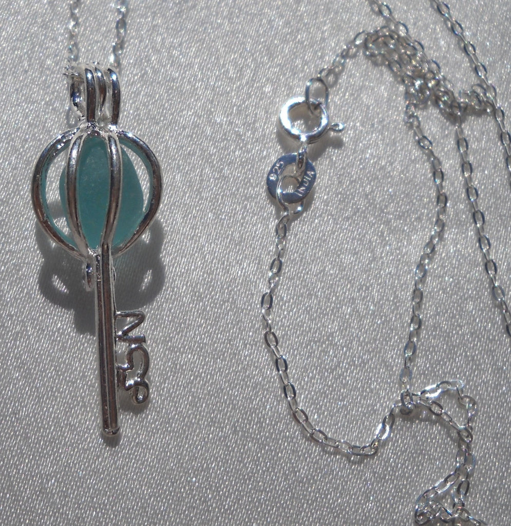 Skeleton Key Necklace Aqua Blue Sea Glass