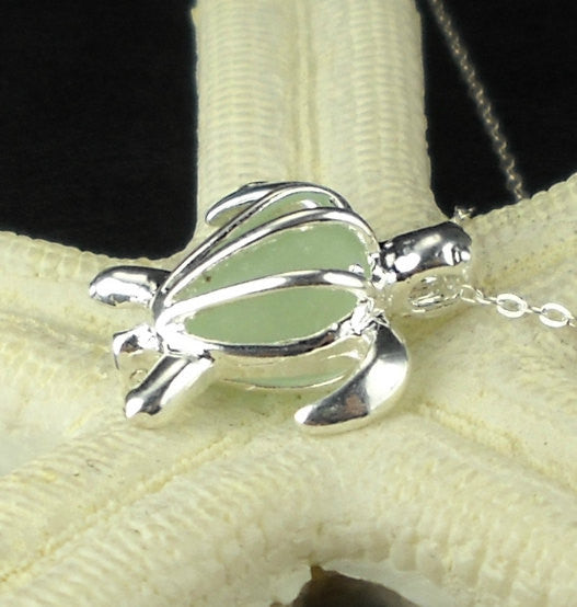 STERLING SILVER Turtle Locket With Real Sea Glass Necklace Choice Of Colors