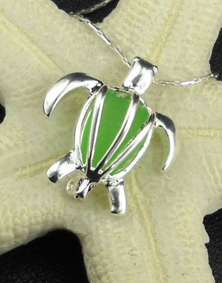 Sea Glass Turtle Locket Necklace