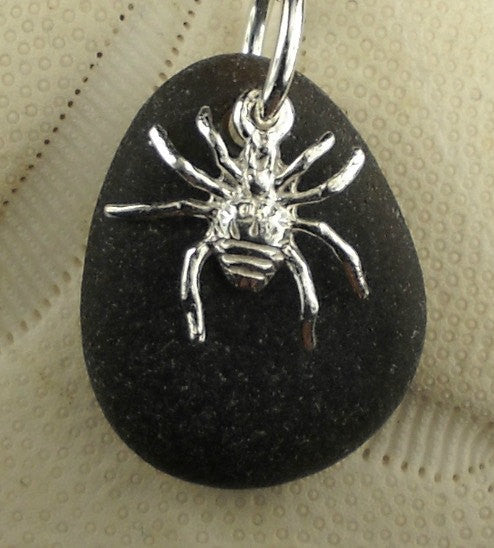 Eco Friendly Spider Necklace On Rare Old Black Sea Glass