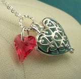 Turquoise Sea Glass Necklace Heart Locket
