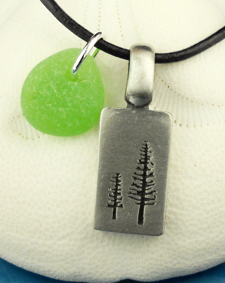 Tree Necklace Genuine Sea Glass Necklace Unisex And Men's Beach Jewelry