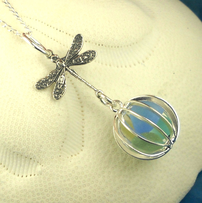 Dragonfly Necklace With GENUINE Sea Glass Necklace Locket Necklace