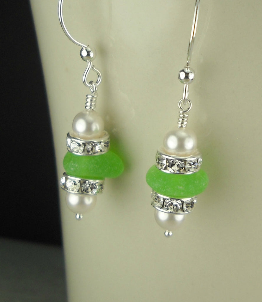 Sterling Silver Lime Green Genuine Sea Glass Dangle Earrings