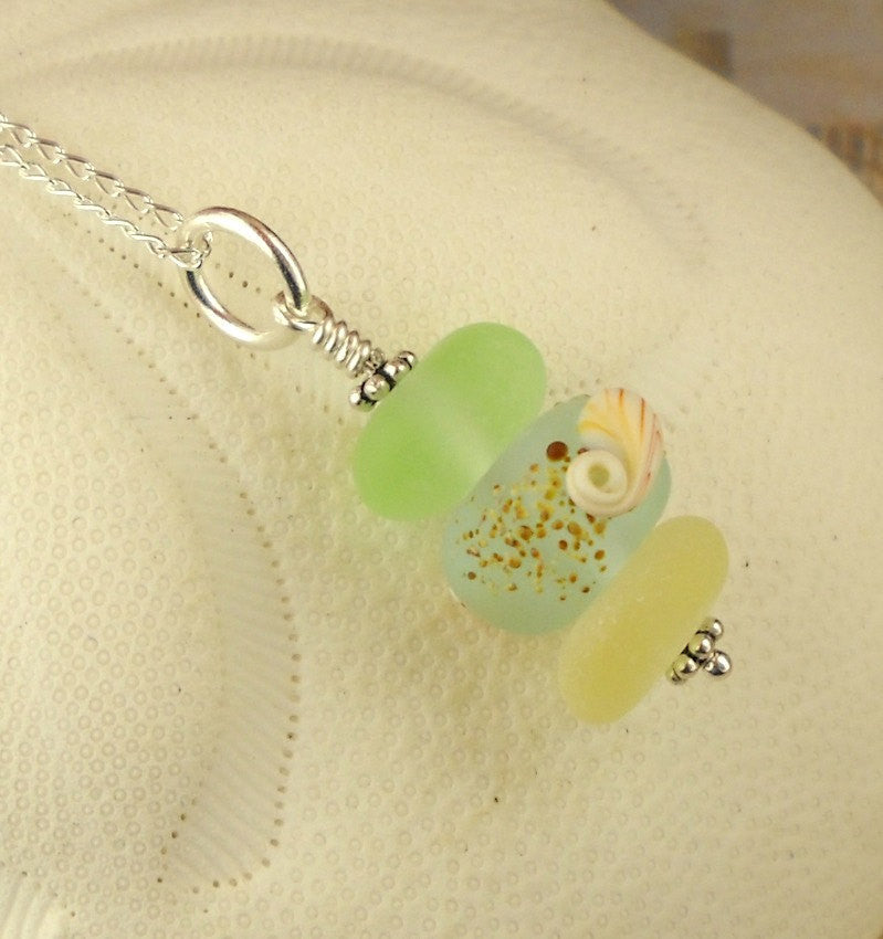 Eco Friendly Genuine Sea Glass Necklace Shell Bead Pastel