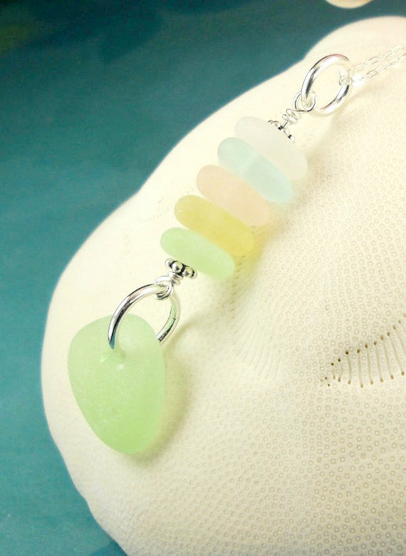 Beach Glass Necklace In Pastels