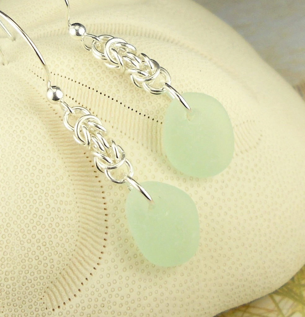 Artisan Chainmaille Earrings With Genuine Sea Glass