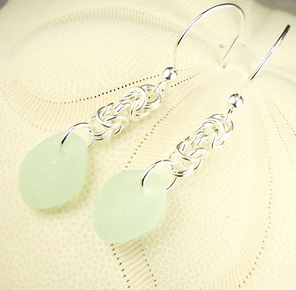 Artisan Made Chainmaille And Sea Glass Earrings