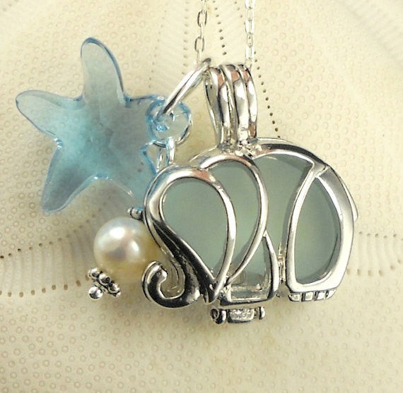 Elephant Locket Aqua Sea Glass Necklace With Starfish And Pearl