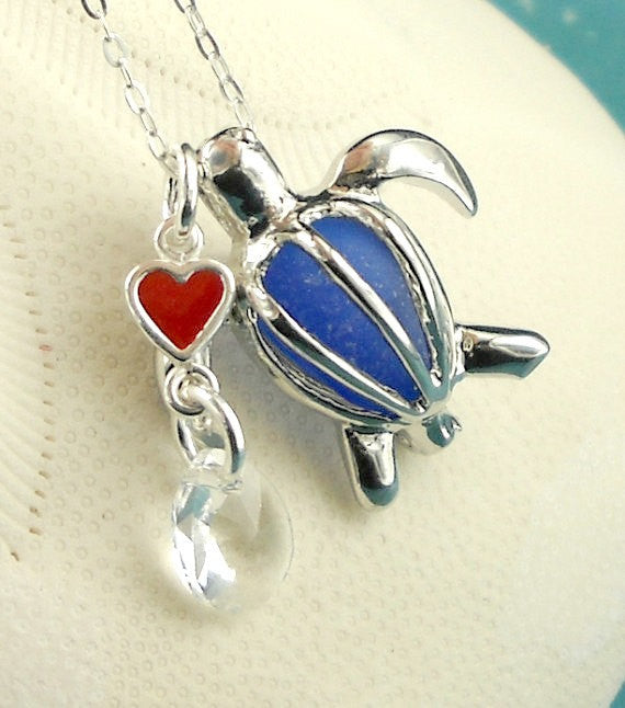 Blue sea glass turtle locket necklace
