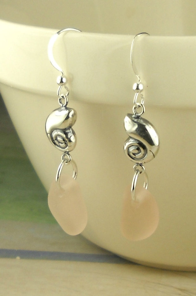 Pastel GENUINE Pink Sea Glass Earrings Sterling Silver Shells Eco Friendly