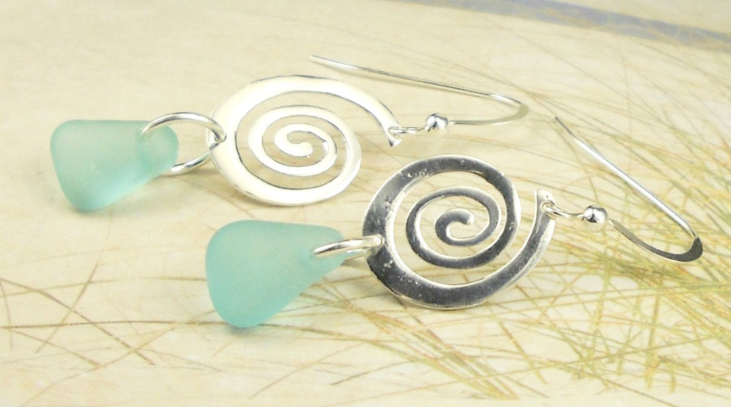 Aqua Sea Glass Earrings With Sterling Silver Spirals