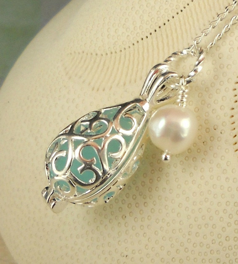 Rare GENUINE Turquoise Sea Glass Filled Filigree Locket Necklace
