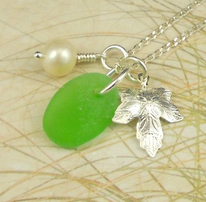 Garden Delight Genuine Sea Glass Pendant Necklace
