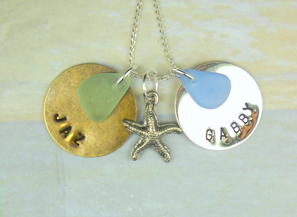 Personalized Necklace Hand Stamped Sterling And Copper With Sea Glass Customized