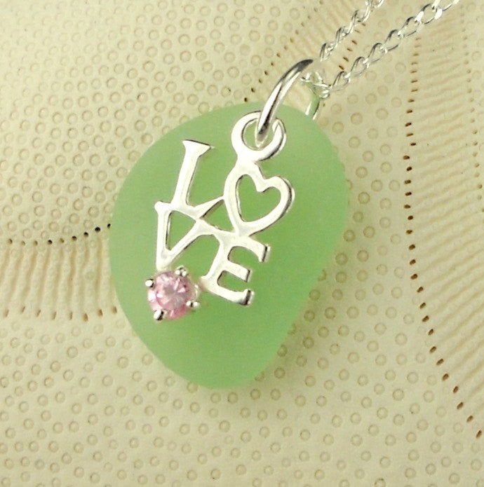 Love Necklace On GENUINE Sea Foam Sea Glass Jewelry