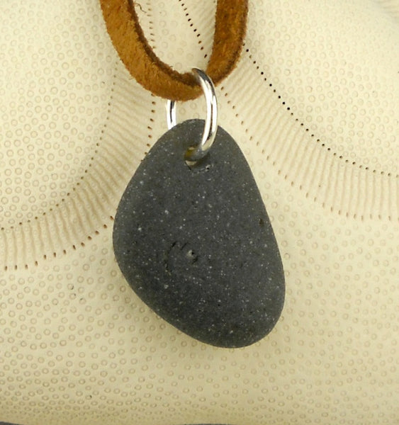 Men's Black Sea Glass Necklace Leather Cord Unisex